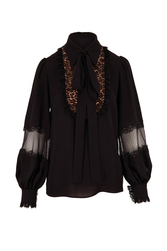 Michael Kors Collection Black Lace Bib Peasant Blouse
