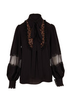 Michael Kors Collection - Black Lace Bib Peasant Blouse