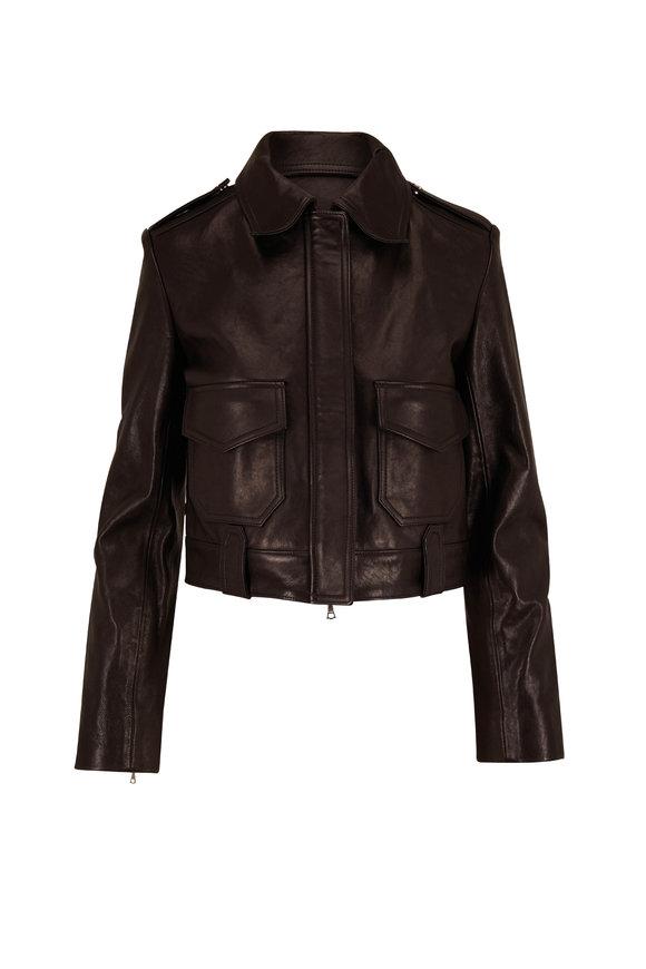 Khaite Cordelia Black Leather Moto Jacket