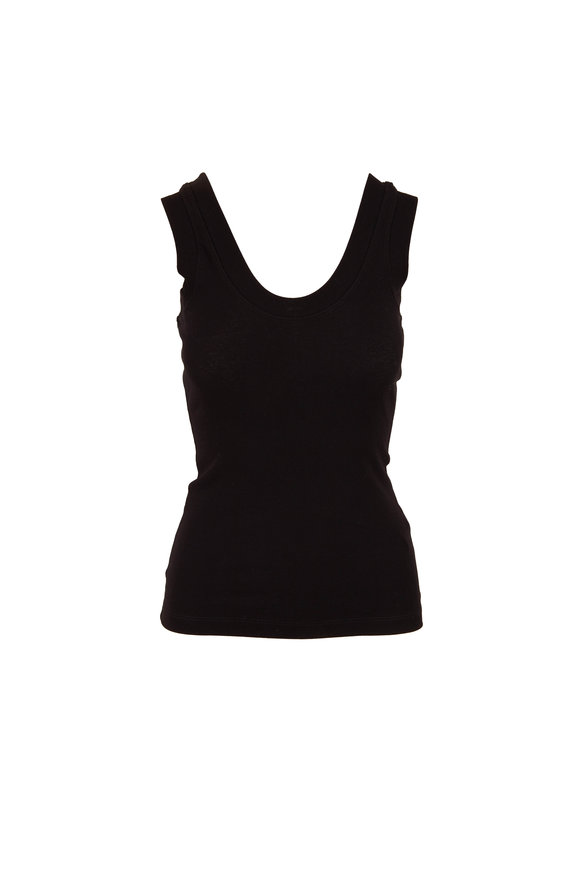 Rosetta Getty Black U-Neck Micro Ribbed Tank