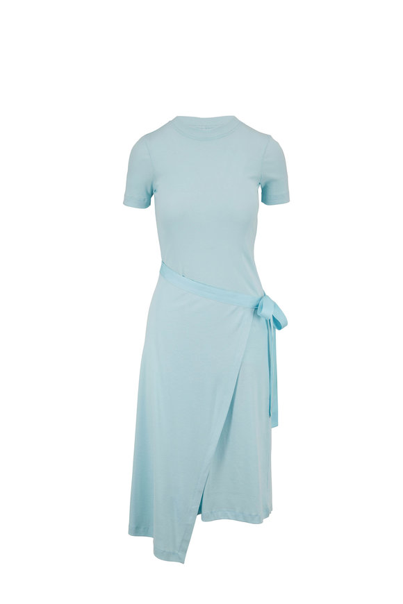 Rosetta Getty Aqua Micro Rib Apron Wrap T-Shirt Dress
