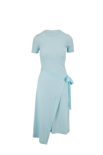 Rosetta Getty - Aqua Micro Rib Apron Wrap T-Shirt Dress