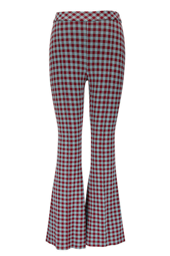 Rosetta Getty Blue & Red Gingham Jacquard Flare Pant