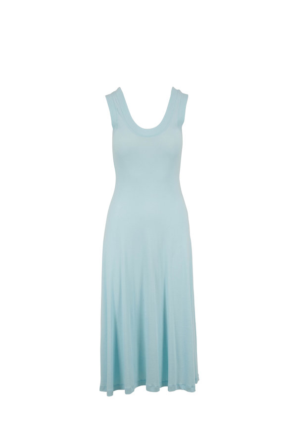 Rosetta Getty Aqua Cotton U-Neck Sleeveless Dress