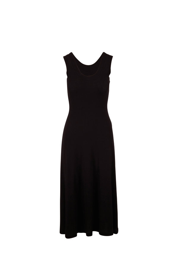 Rosetta Getty Black Cotton Ribbed Sleeveless Dress