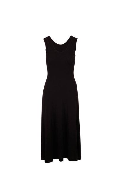 Rosetta Getty - Black Cotton Ribbed Sleeveless Dress