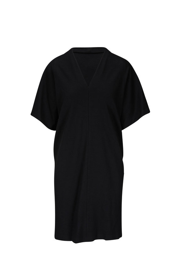 Rosetta Getty Black Jersey V-Neck Short Sleeve Dress