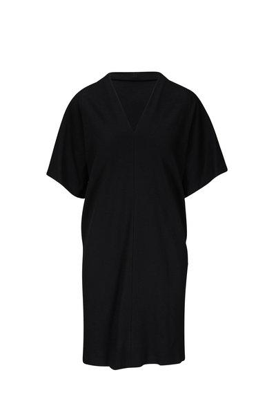 Rosetta Getty - Black Jersey V-Neck Short Sleeve Dress