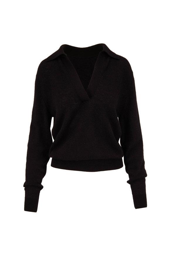 Khaite Jo Black Cashmere Johnny Collar Sweater