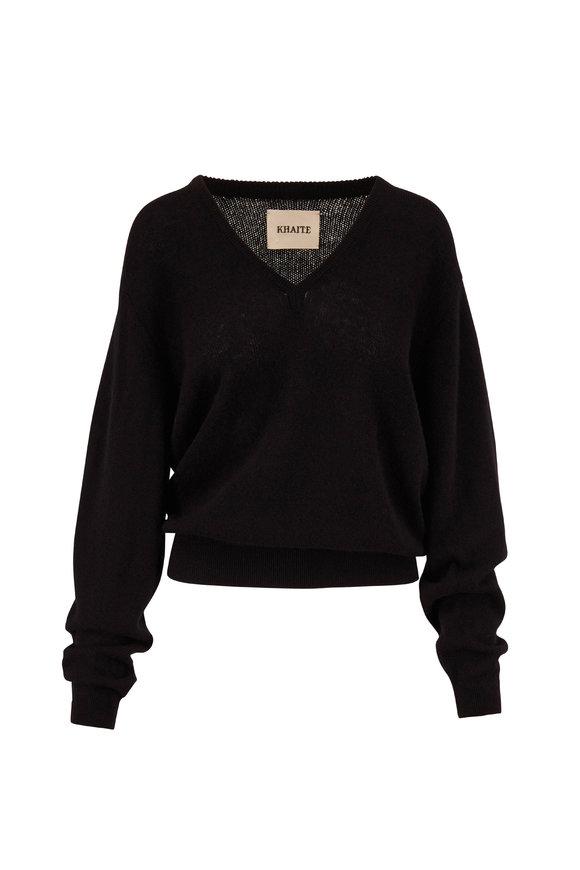 Khaite Sam Black Cashmere V-Neck Sweater
