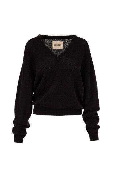 Khaite - Sam Black Cashmere V-Neck Sweater