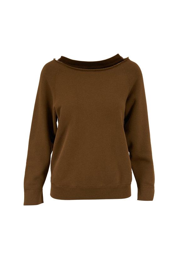 Nili Lotan Luka Army Green Scoopneck Sweatshirt