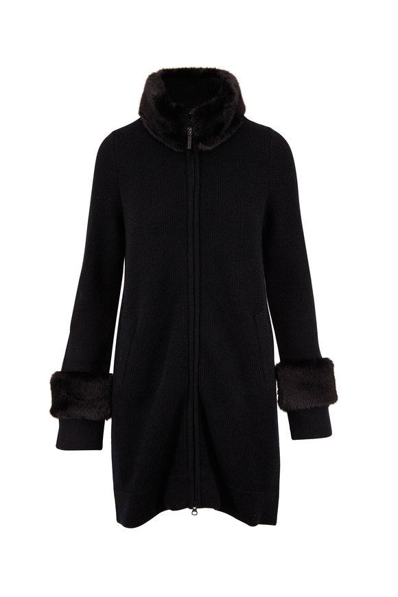 Kinross Black Wool & Cashmere Faux Fur Trim Sweater