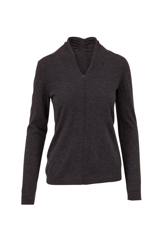 Kinross Charcoal Worsted Cashmere Gathered V-Neck Sweater
