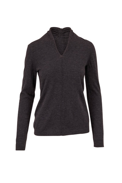 Kinross - Charcoal Worsted Cashmere Gathered V-Neck Sweater