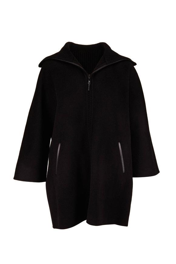 Kinross Black Wool & Cashmere Front Zip Cardigan