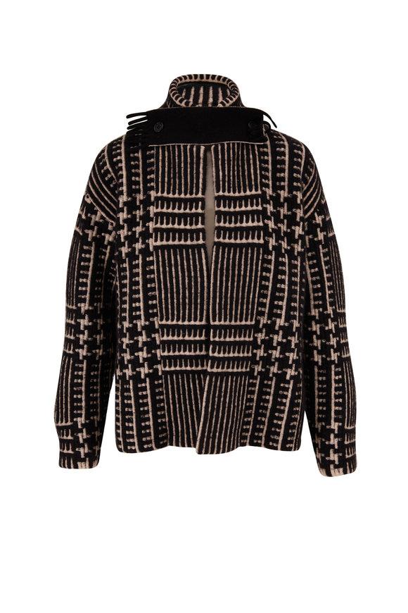 Akris Black & Ivory Cashmere & Silk Cardigan