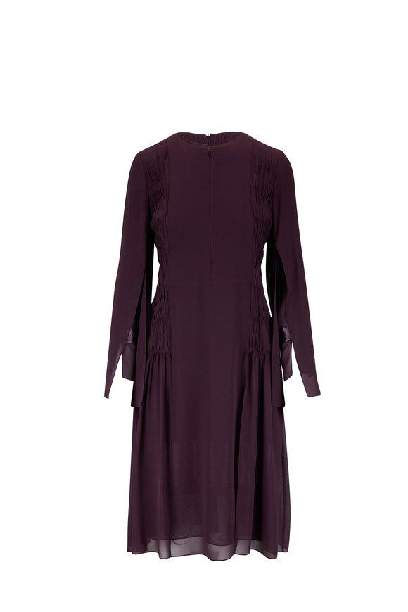 Akris Plum Pleated Silk Georgette Long Sleeve Dress