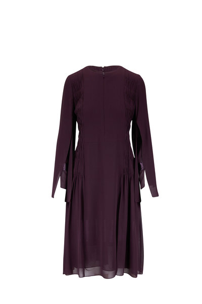 Akris - Plum Pleated Silk Georgette Long Sleeve Dress