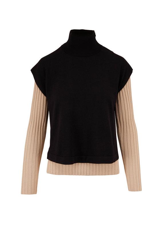 Akris Black & Beige Double Layer Knit Turtleneck