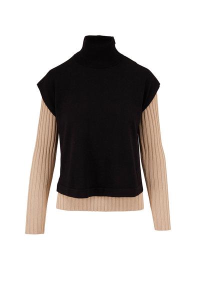 Akris - Black & Beige Double Layer Knit Turtleneck