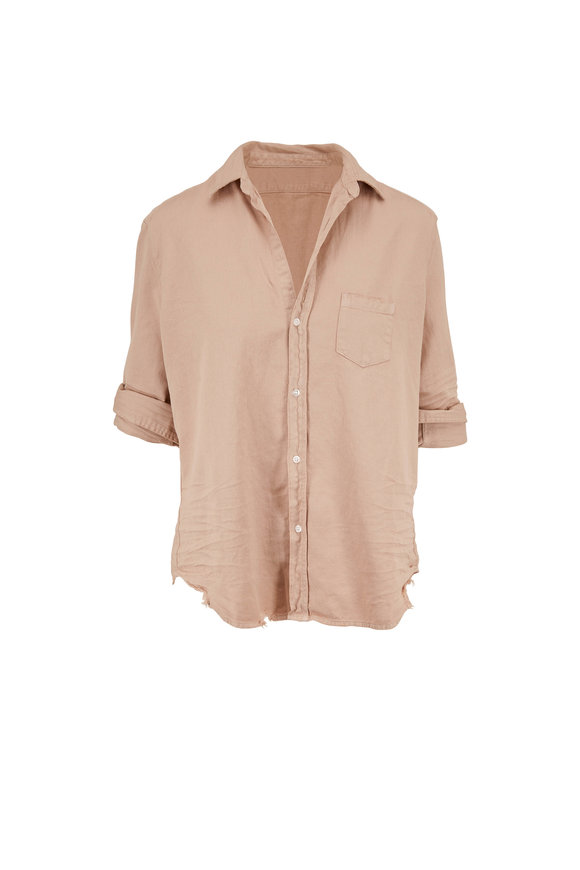 Frank & Eileen Eileen Sand Raw Edge Hem Button Down