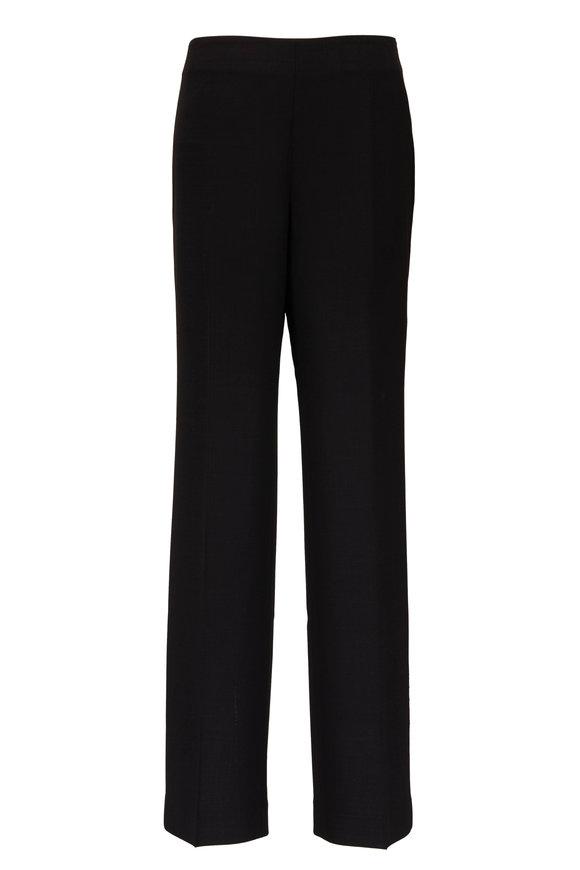 Lafayette 148 New York Metropolitan Black Stretch Wool Straight Leg Pant