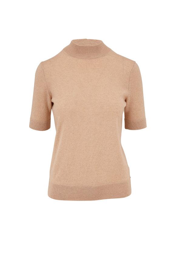 Lafayette 148 New York Nude Melange Short Sleeve Mock Neck Sweater