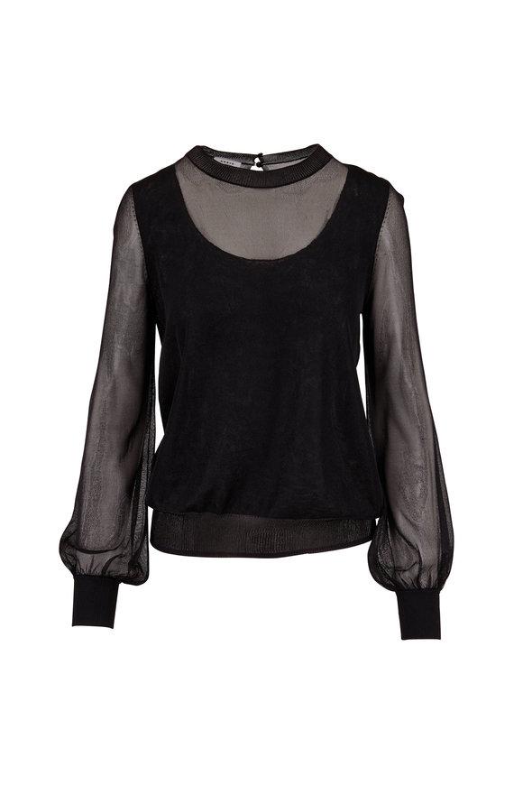 Akris Punto Black Sheer Pullover Knit Sweater