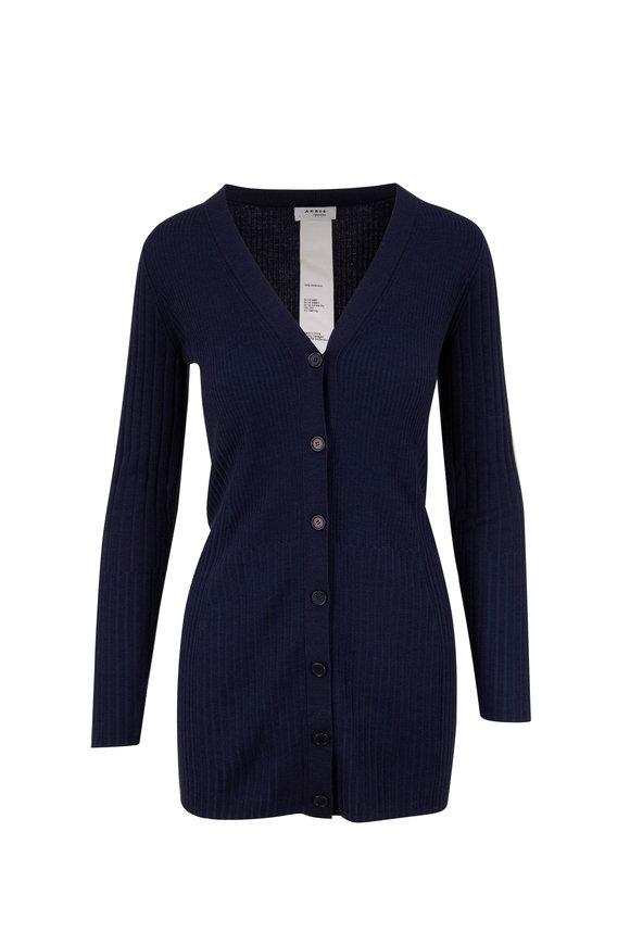Akris Punto Navy Ribbed Button Front Cardigan