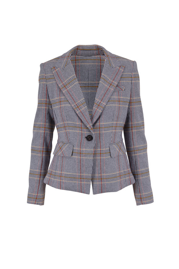 Veronica Beard Danielle Multicolor Plaid Single Button Blazer