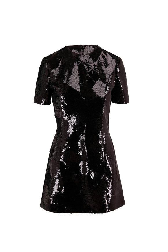 Saint Laurent Black Origami Paillette Dress