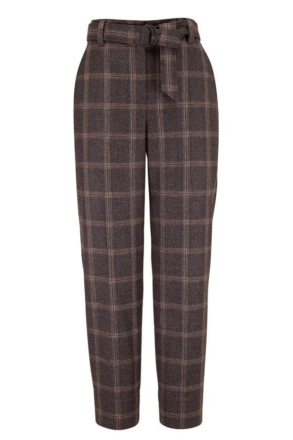 Medium Gray Wool Plaid Soft Pleat Pant
