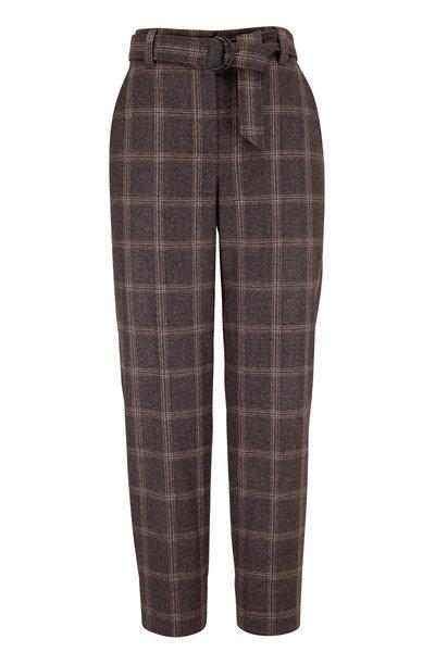 Brunello Cucinelli - Medium Gray Wool Plaid Soft Pleat Pant