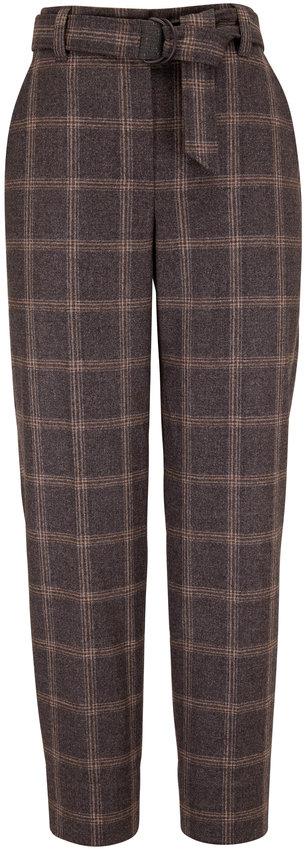 Brunello Cucinelli Medium Gray Wool Plaid Soft Pleat Pant