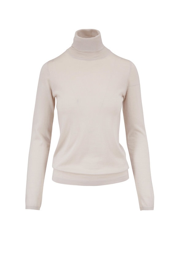 Brunello Cucinelli Sand Cashmere Turtleneck Sweater