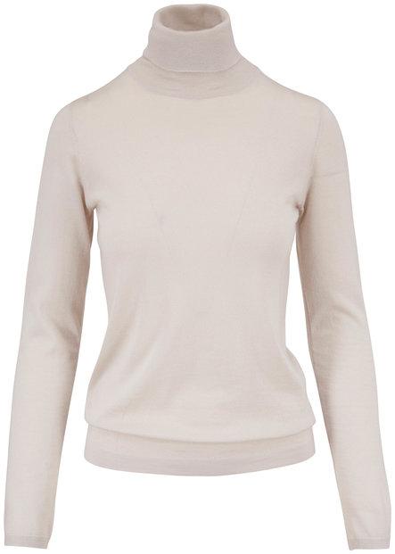Brunello Cucinelli Sand Cashmere Turtleneck Sweater