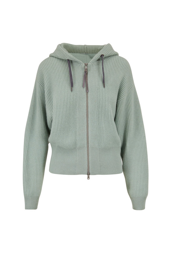 Brunello Cucinelli Mint Green Cashmere Ribbed Zip Up