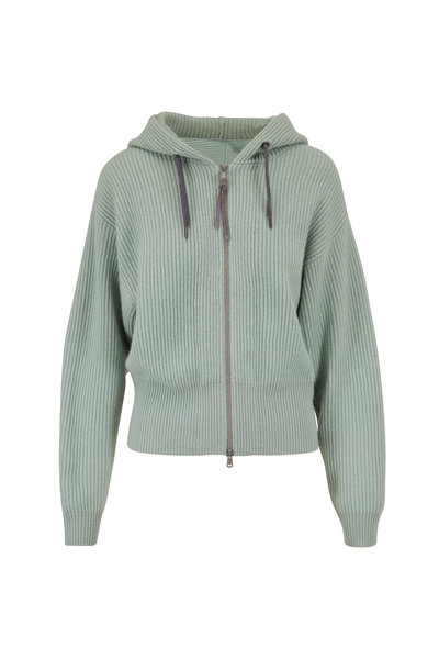 Brunello Cucinelli - Mint Green Cashmere Ribbed Zip Up