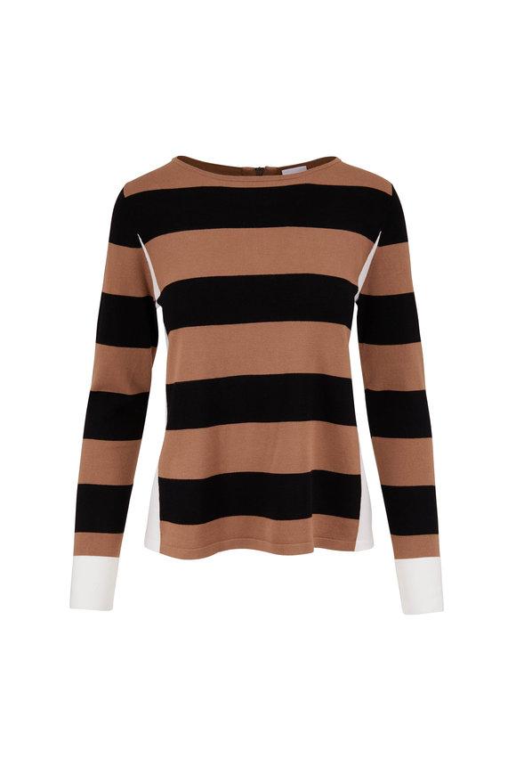 Bogner Ellinor Black & Camel Stripe Knit Top