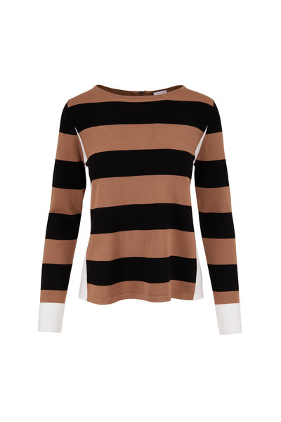 Bogner - Ellinor Black & Camel Stripe Knit Top