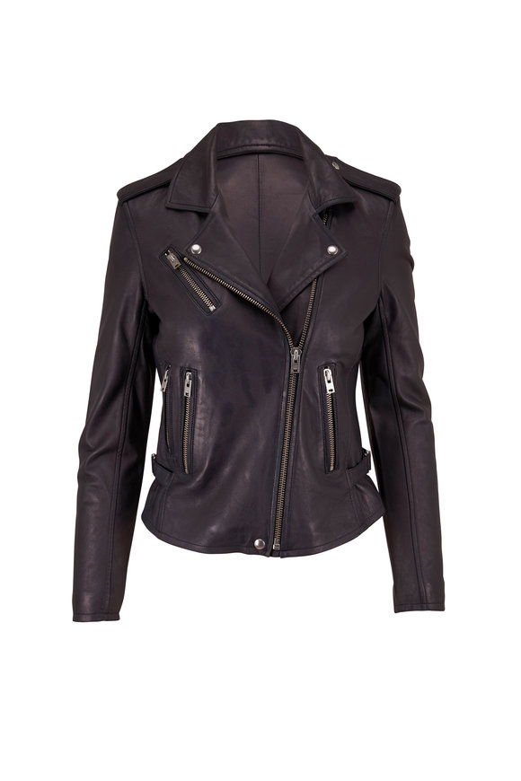 IRO Newhan Strong Blue Leather Jacket