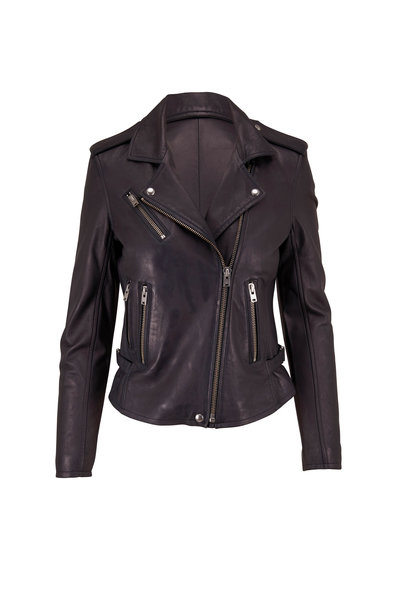 IRO - Newhan Strong Blue Leather Jacket