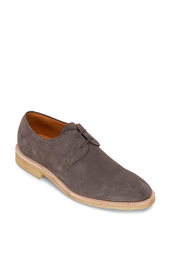 John Lobb Drift Gray Suede Lace Up Dress Shoe