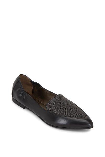 Brunello Cucinelli - Black Leather Monili Panel Flat