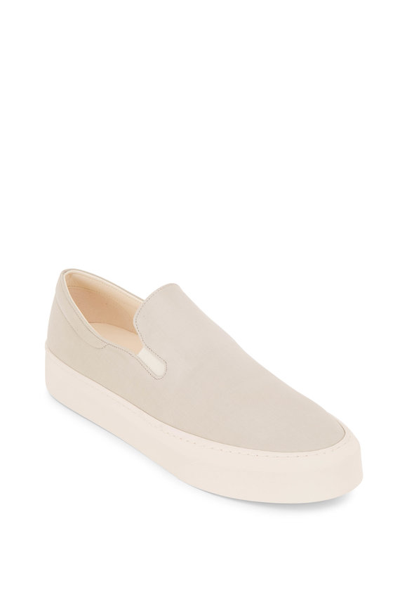 The Row Marie H Light Gray & Ivory Canvas Slip On Sneaker