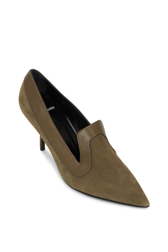 Pierre Hardy Khaki Suede Pointed Loafer Pump, 70mm