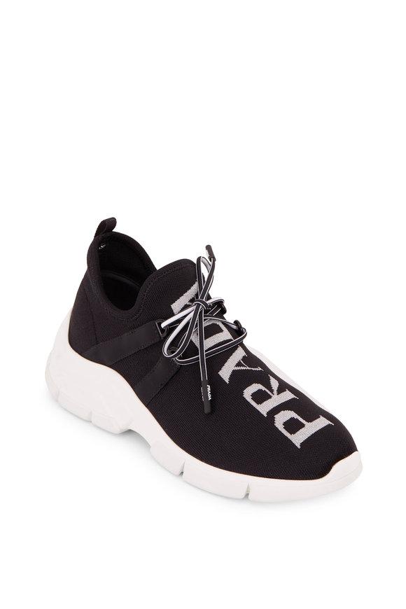 Prada Black Knit & Silver Logo Sneaker