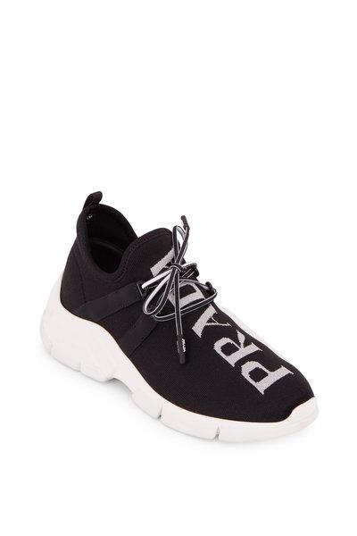 Prada - Black Knit & Silver Logo Sneaker