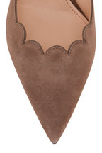 Prada - Taupe Suede Scalloped Front Pump, 55mm